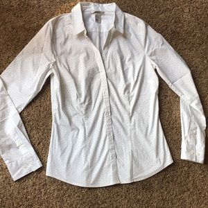 H&M white w black dots button up V-neck Shirt